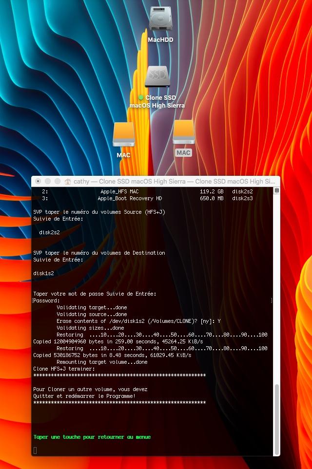 Clone SSD macOS High Sierra 310