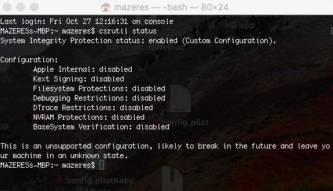 SIP Sécurité Apple X19