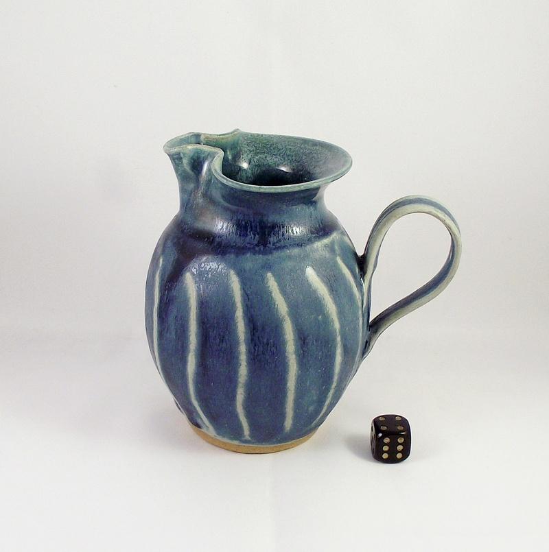 Blue Glazed Jug With Carved Body Dscf7612
