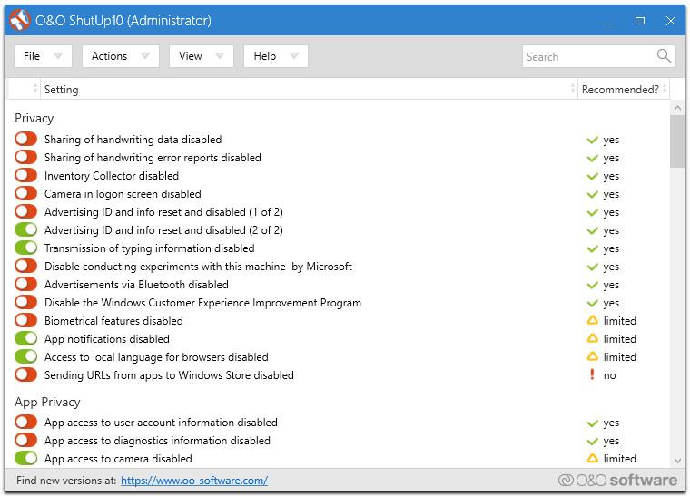 O&O ShutUp10 1.6.1403 - Αntispy tool για τα Windows 10 15082310