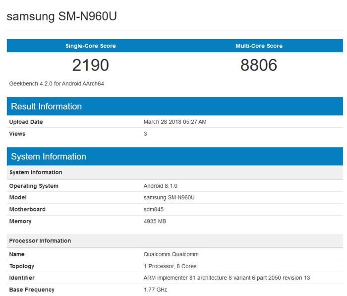 Το Samsung Galaxy Note 9 πέρασε από benchmarks Note-910