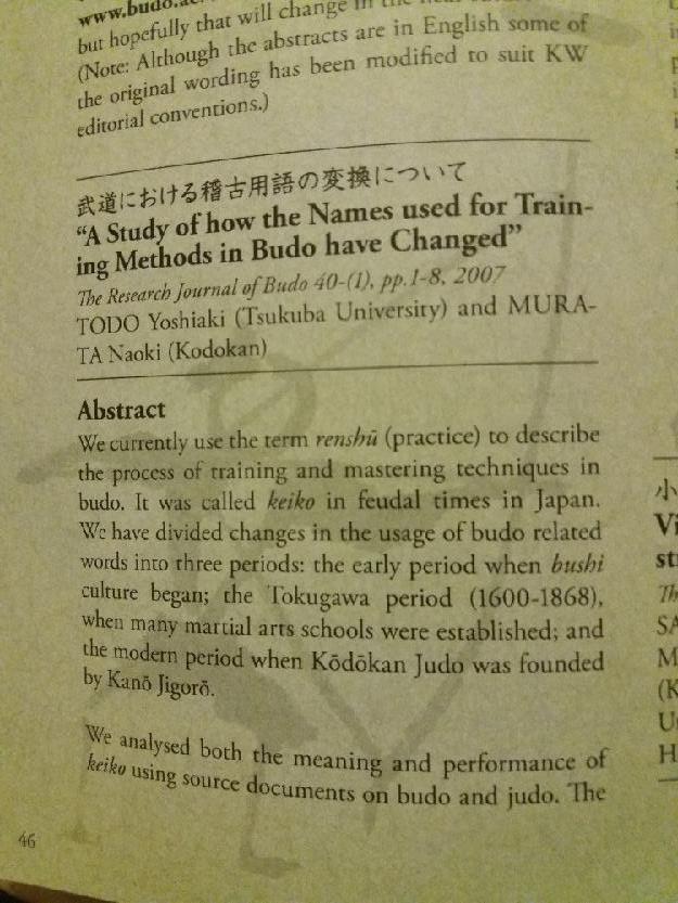 Jigoro Kano - word keiko -> replaced renshu in Kodokan 110
