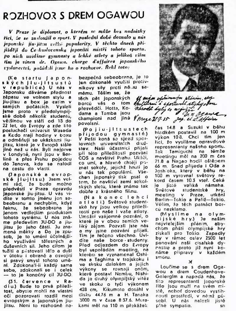 1938 - M. Y Sugimura (japanese ambasador in France) shows judo with Kawaishi in Paris 19350710