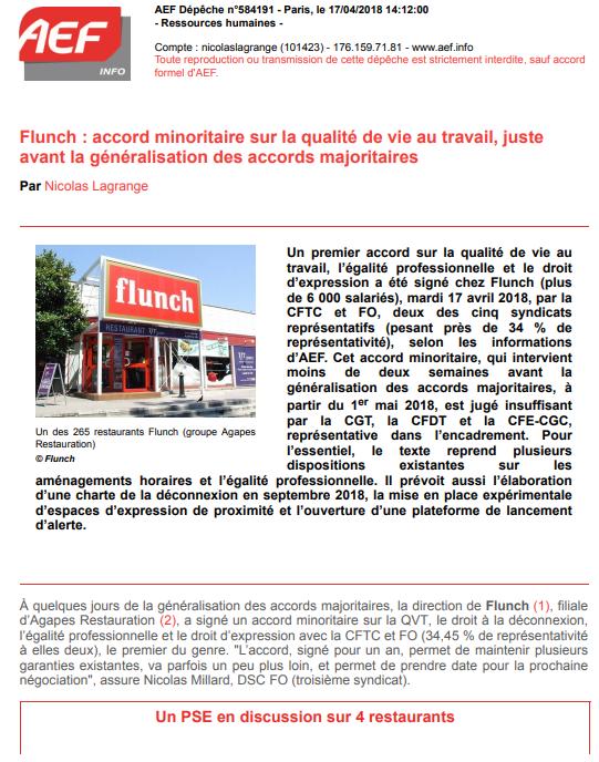 """Article internet A.E.F Dépêche N° 584 191 avril 2018 """"FLUNCH : Accord minoritaire sur la qualité de vie au travail, juste avant la générélalisation des accords majoritaires"""" Articl10"""
