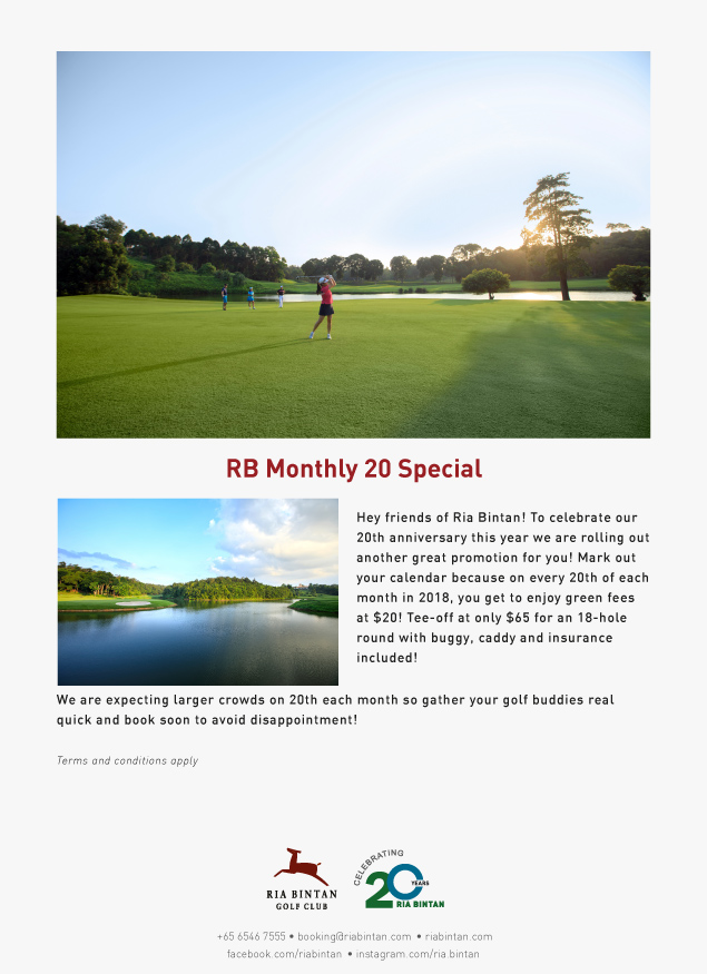 Mark your calendar! Enjoy $20 green fees on every 20th of the month! Rbm20s11