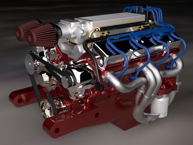 Bloc Moteur V8 et Moteur Cylindrique pour Scale et Crawler 1/10 027