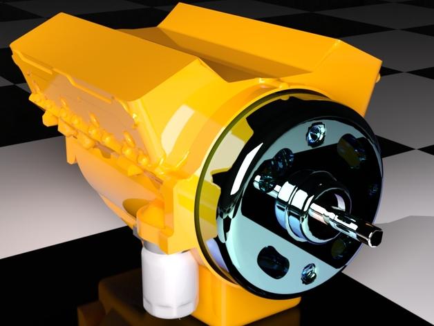 Bloc Moteur V8 et Moteur Cylindrique pour Scale et Crawler 1/10 028