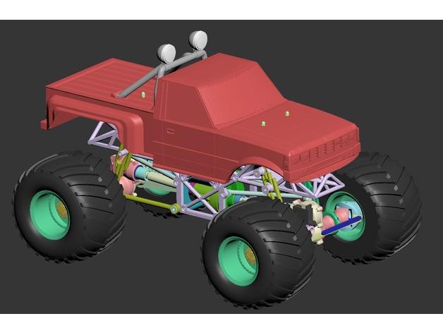 Impression 3D Engin Complet Monster Truck 124