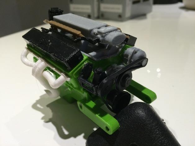 Bloc Moteur V8 et Moteur Cylindrique pour Scale et Crawler 1/10 126