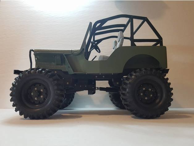 Impression 3D Engin Jeep Willys 4x4 Complet 128