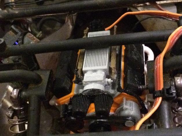 Bloc Moteur V8 et Moteur Cylindrique pour Scale et Crawler 1/10 213