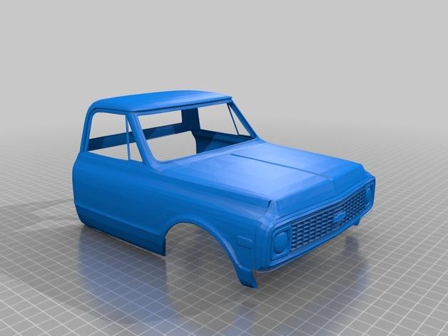 Carrosserie 3D Chevrolet Chevy 1972 K10 4x4 pour Scale et Crawler 1/10 M1a28