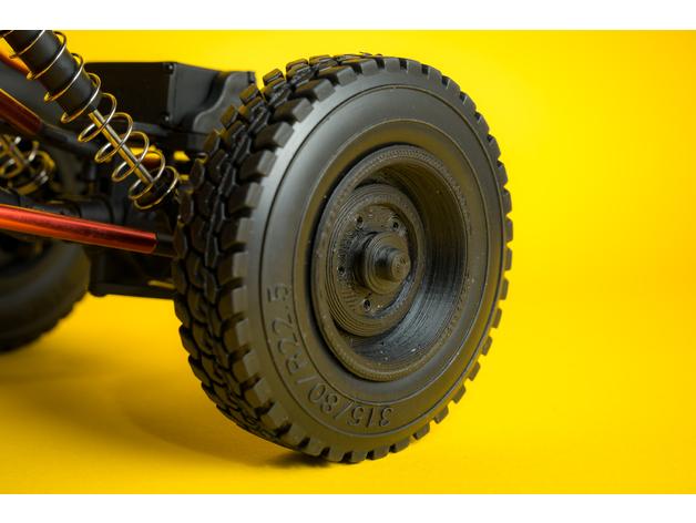 Pneu 3D de 44mm et jante pour Remorque de Scale et Crawler M1a31