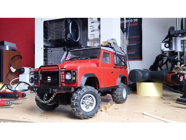 Carrosserie 3D Land Rover Defender D90 4x4 pour Gelande Scx10 Scale et Crawler 1/10 M1a45