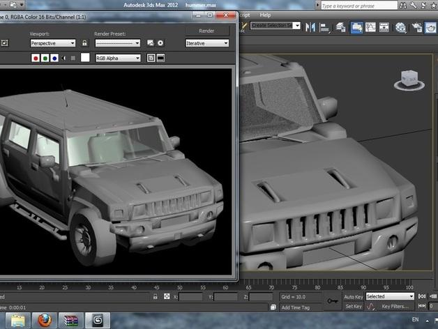 Carrosserie 3D Hummer 4x4 pour Scale et Crawler 1/10 M1a58