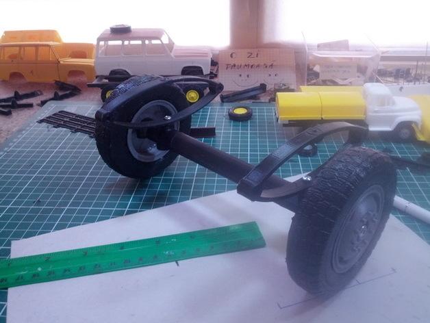 Axe de remorque 3D avec suspensions à lames pour Scale et Crawler 1/10 M1a72