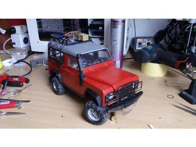 Carrosserie 3D Land Rover Defender D90 4x4 pour Gelande Scx10 Scale et Crawler 1/10 M1b37