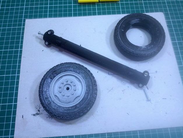 Axe de remorque 3D avec suspensions à lames pour Scale et Crawler 1/10 M1b55