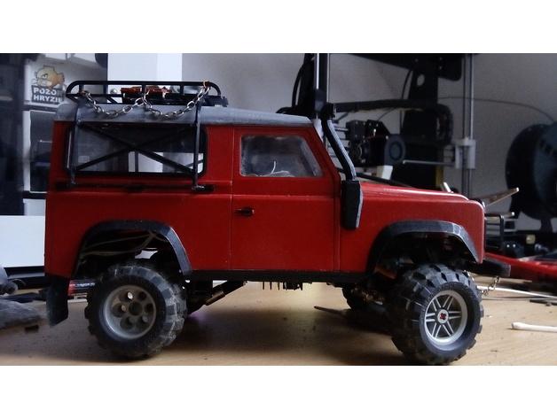 Carrosserie 3D Land Rover Defender D90 4x4 pour Gelande Scx10 Scale et Crawler 1/10 M1c21