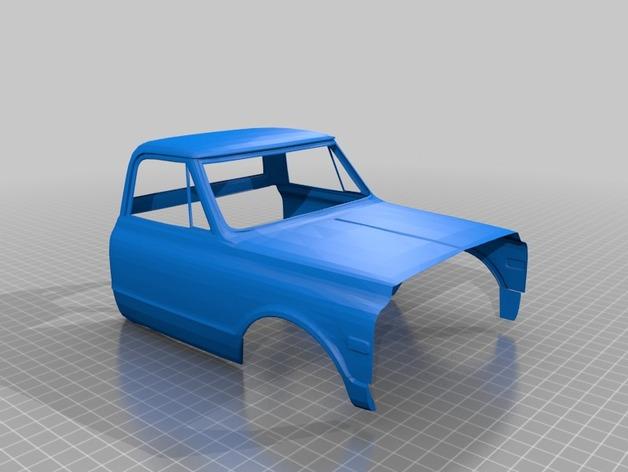 Carrosserie 3D Chevrolet Chevy 1972 K10 4x4 pour Scale et Crawler 1/10 M1d10