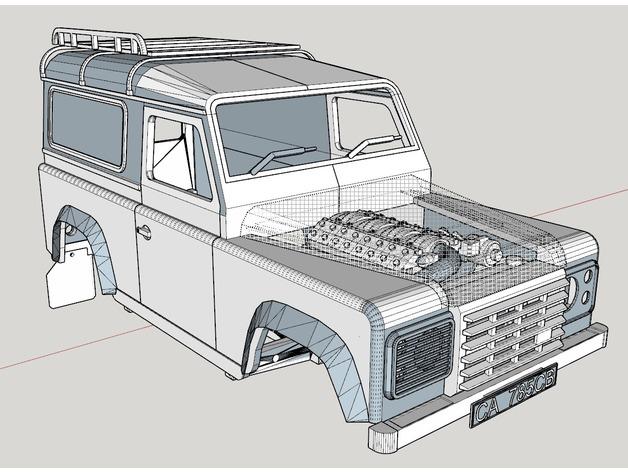 Carrosserie 3D Land Rover Defender D90 4x4 pour Gelande Scx10 Scale et Crawler 1/10 M1e12