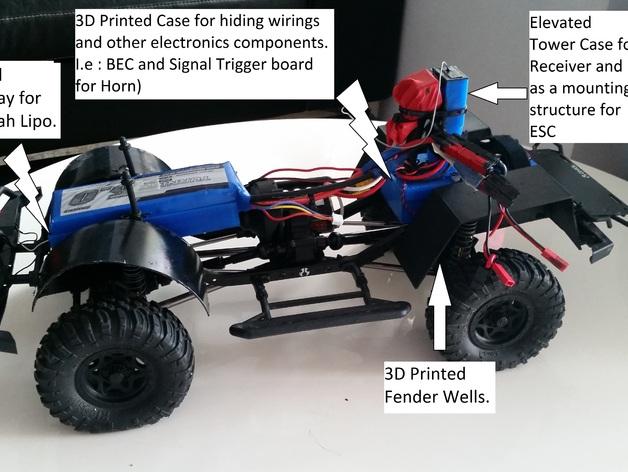 Garde Boue 3D et Passage de Roue 3D pour Scale et Crawler 1/10 M2a24
