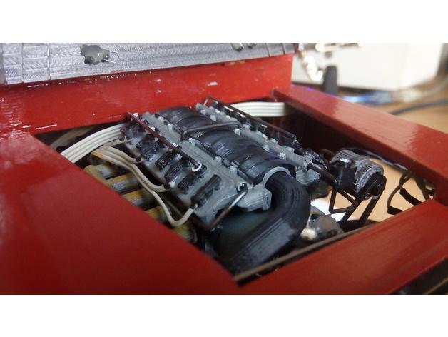 Bloc Moteur V8 et Moteur Cylindrique pour Scale et Crawler 1/10 M5a19
