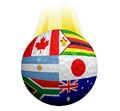 BEAUTIFUL , COLORFUL FLAGS AND BALLS FROM ALL OVER THE COUNTRY AND WORLD . Intnl_10