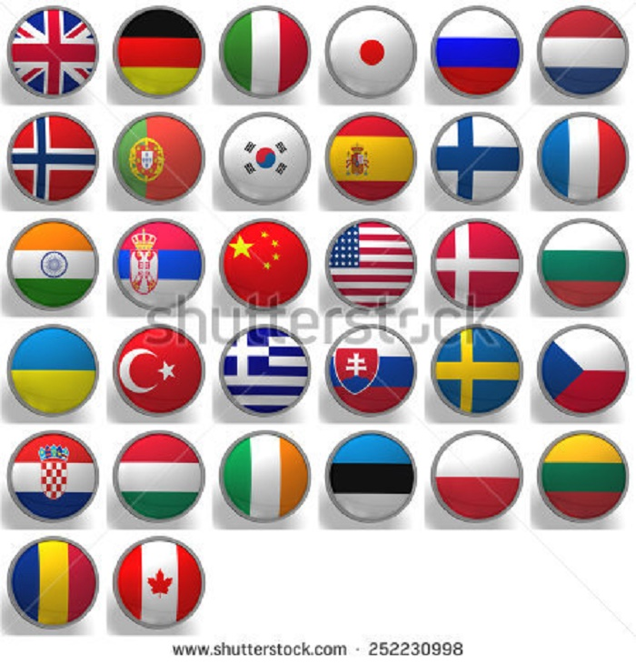 BEAUTIFUL , COLORFUL FLAGS AND BALLS FROM ALL OVER THE COUNTRY AND WORLD . Stock-66