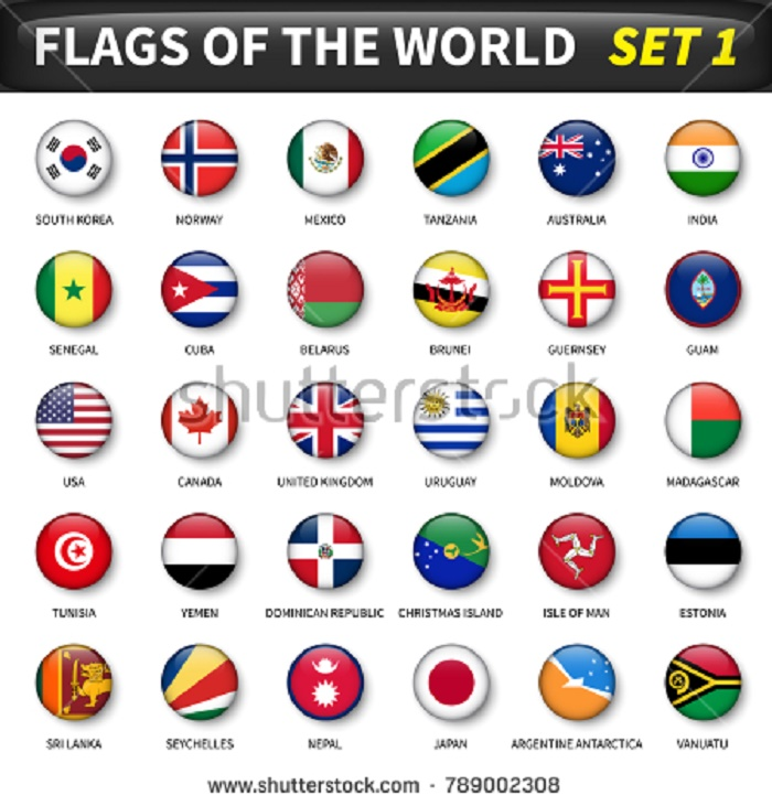 BEAUTIFUL , COLORFUL FLAGS AND BALLS FROM ALL OVER THE COUNTRY AND WORLD . Stock-68
