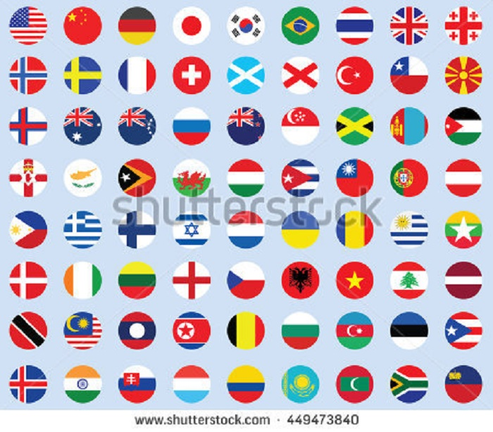 BEAUTIFUL , COLORFUL FLAGS AND BALLS FROM ALL OVER THE COUNTRY AND WORLD . Stock-70