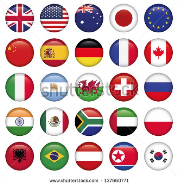 BEAUTIFUL , COLORFUL FLAGS AND BALLS FROM ALL OVER THE COUNTRY AND WORLD . Stock-71