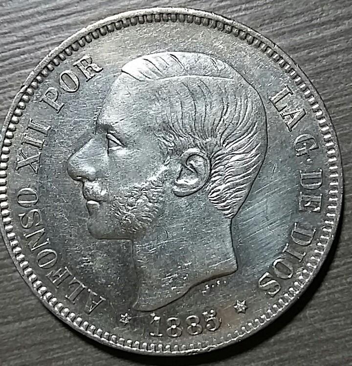 5 pesetas 1885 AXII 1885a10