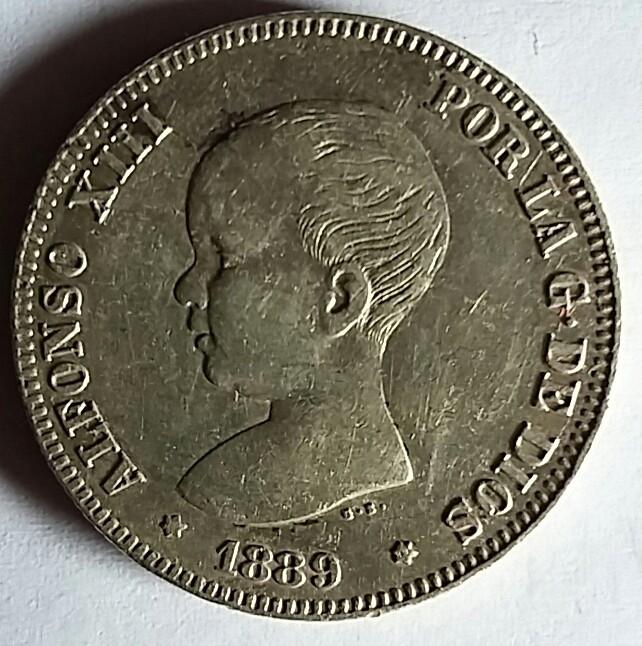 2 pesetas Alfonso XIII 1889 1889a10