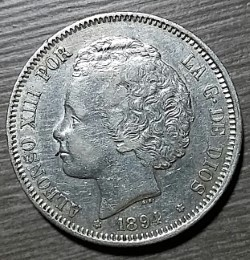 2 pesetas Alfonso XIII 1894 Thumbn10