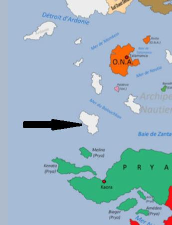 Visite de Torpen ambassadrice de la Ligue Eburnéenne Décanale: revendication de l'ile au large de Pyra à l'ouest du Micromonde Carte12
