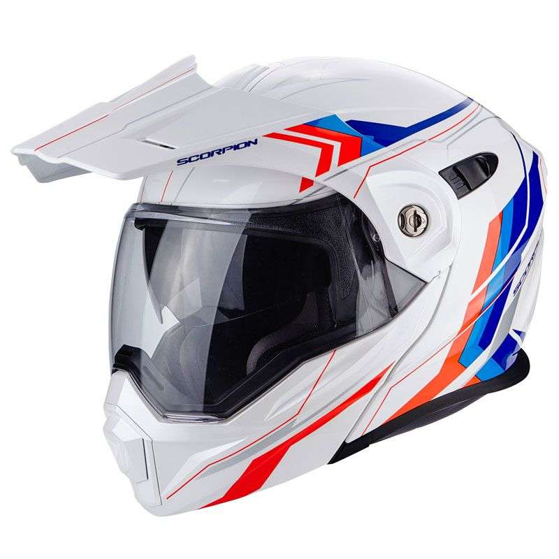 Casque moto enduro Caberg XTRACE LUX BLANC/ROUGE/BLEU Scorpi10