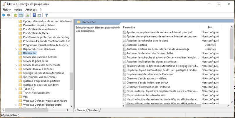 Supprimer Cortana, Windows Search et Windows Defender Captur10