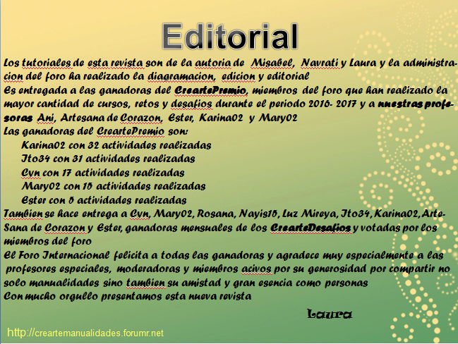 La revista CrearteManualidades 2017 ya esta en manos de las ganadoras Captur19