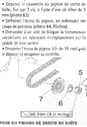 Boulon du pignon de sortie de boite Psb1011