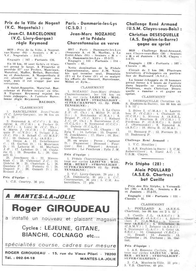 Coureurs et Clubs d'avril 1977 à mai 1979 003154