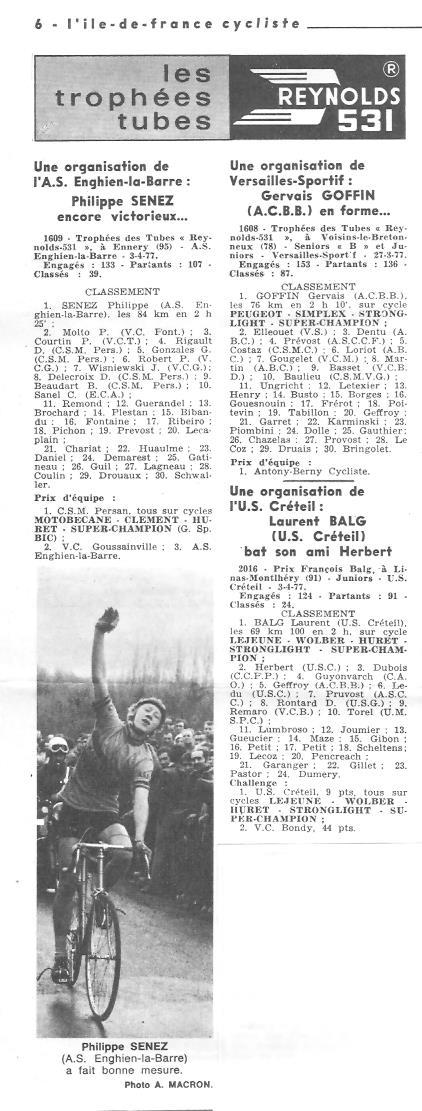 Coureurs et Clubs d'avril 1977 à mai 1979 010148