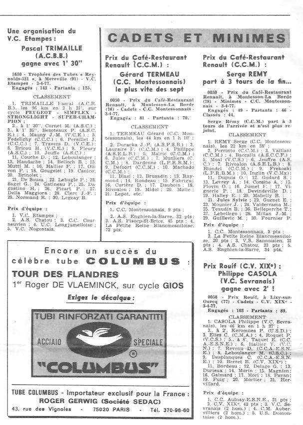 Coureurs et Clubs d'avril 1977 à mai 1979 011157