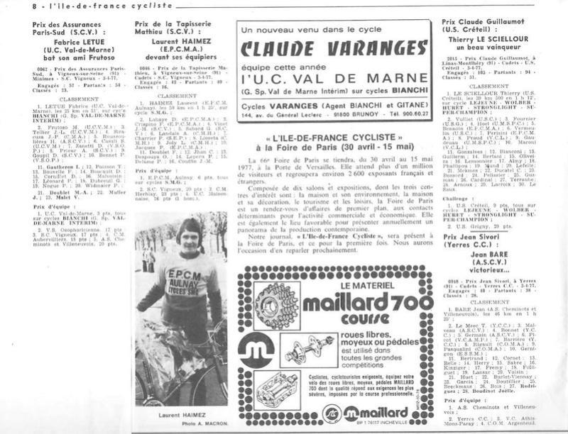 Coureurs et Clubs d'avril 1977 à mai 1979 014155