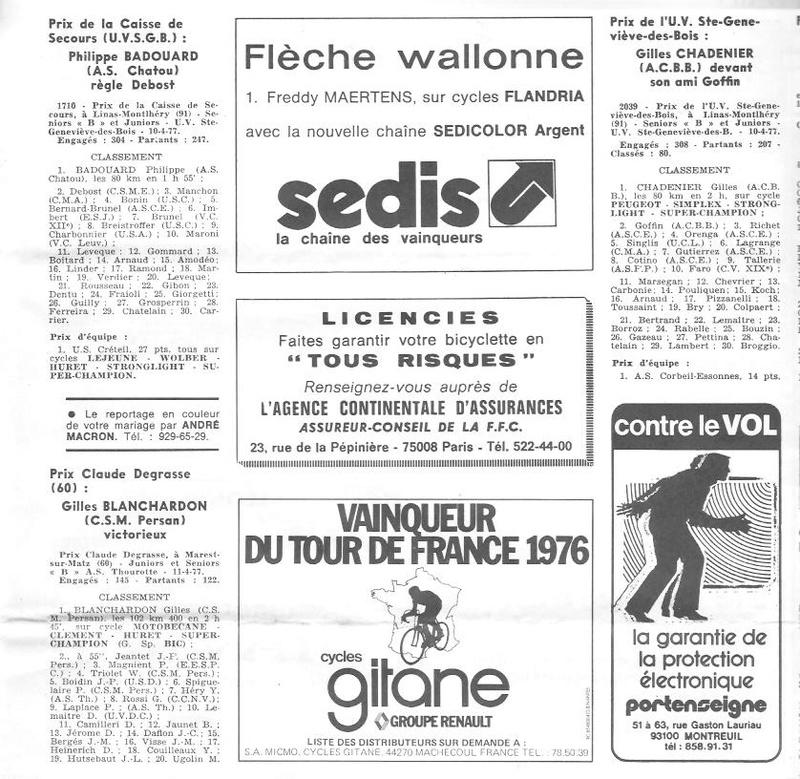 Coureurs et Clubs d'avril 1977 à mai 1979 02389