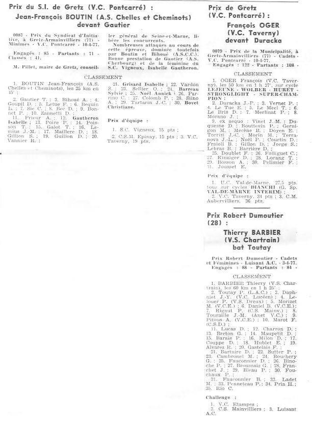 Coureurs et Clubs d'avril 1977 à mai 1979 02841