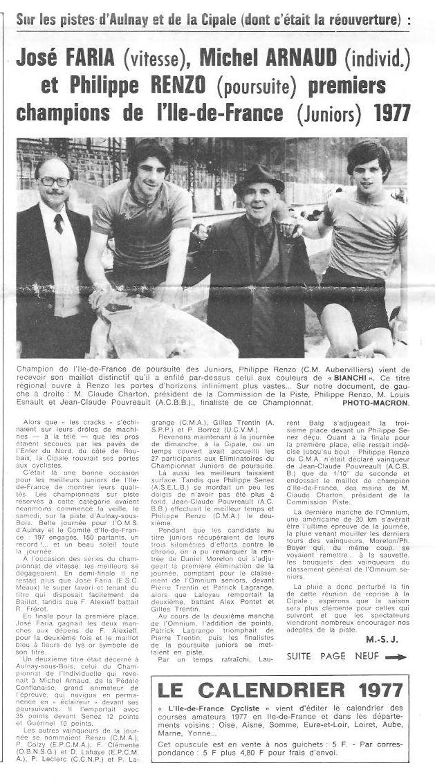 Coureurs et Clubs d'avril 1977 à mai 1979 03032