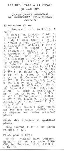Coureurs et Clubs d'avril 1977 à mai 1979 03228