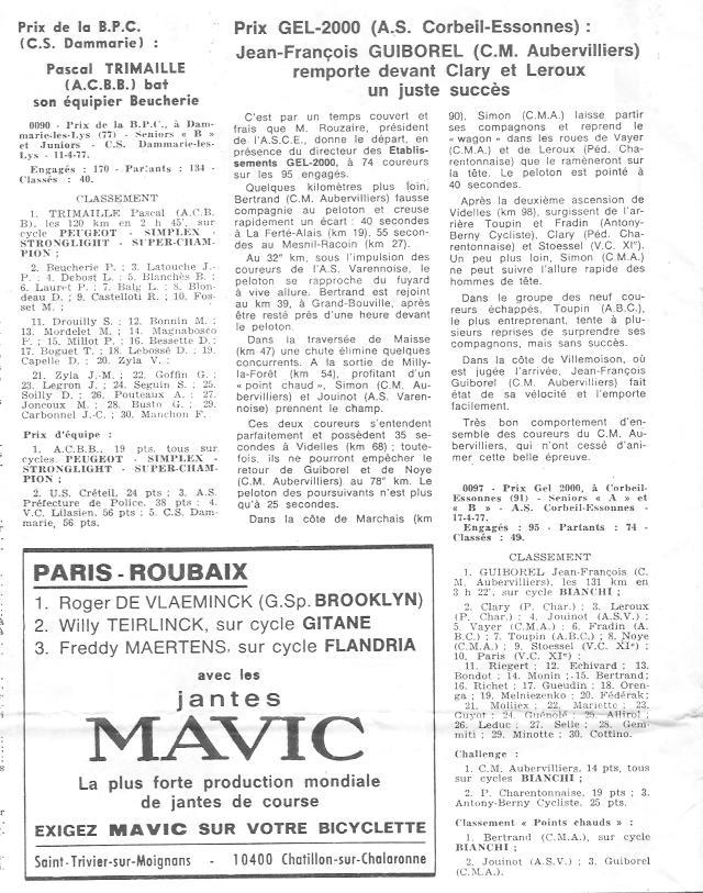 Coureurs et Clubs d'avril 1977 à mai 1979 03525