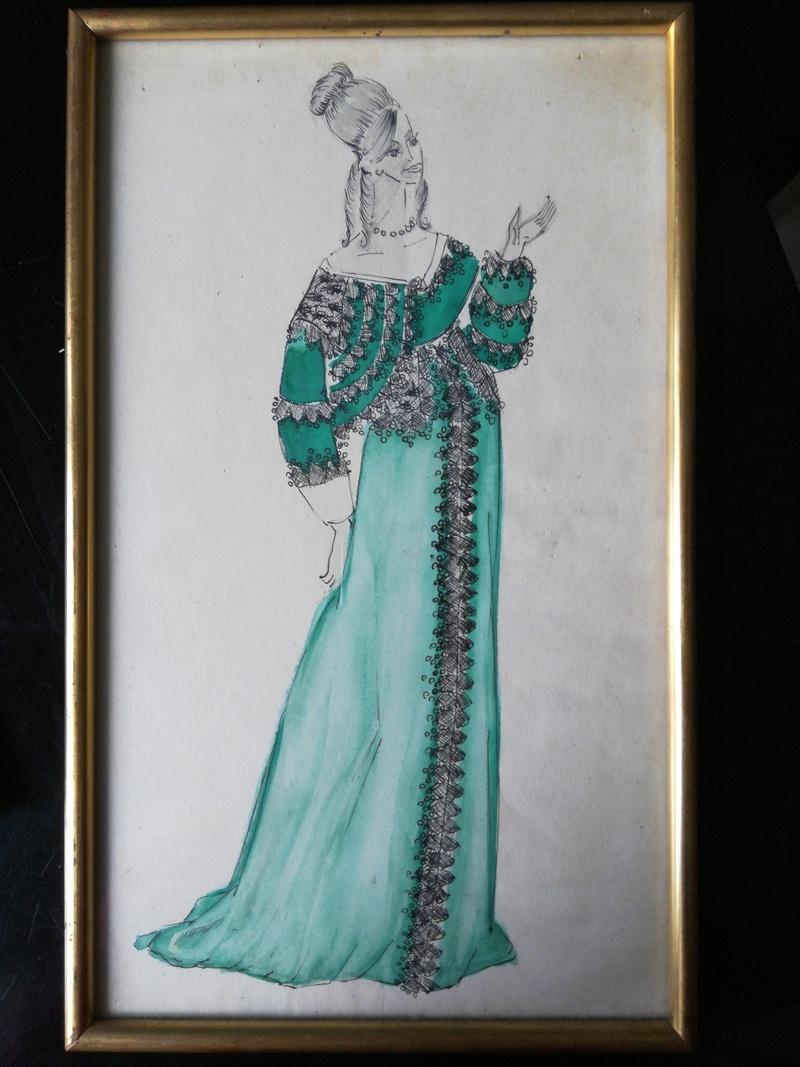 Aquarelles de costume de théâtre des années '50 15282914